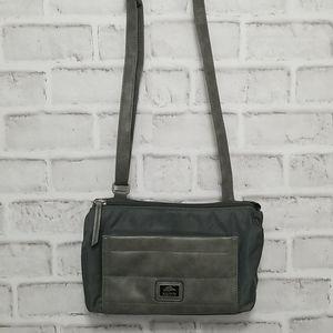 Roots Grey Nylon Crossbody Bag